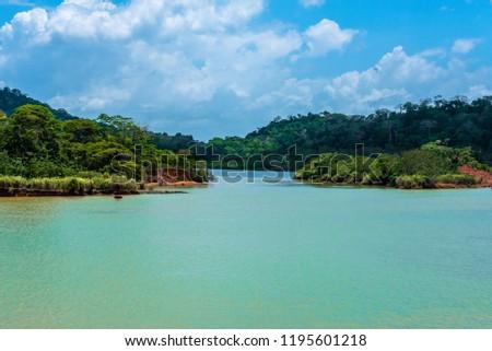 A very narrow passageway lies ahead on Gatun Lake in the Panama Canal complex. #1195601218
