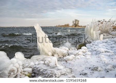 Strange ice forms at the shore of a lake during a cold spell in winter #1195659268