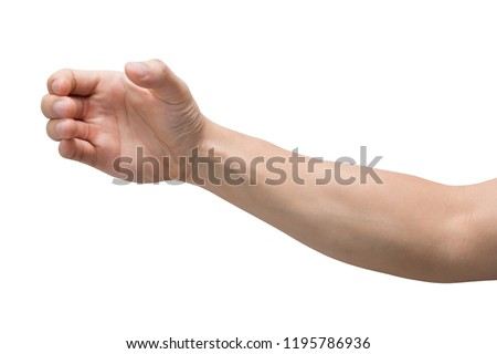 a hand holding something like a bottle or smartphone isolated on white background with clipping path. #1195786936