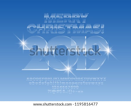 Vector ice Merry Christmas 2019 Greeting Card with Alphabet set of Letters, Symbols and Numbers. Magical Glass Font. #1195816477