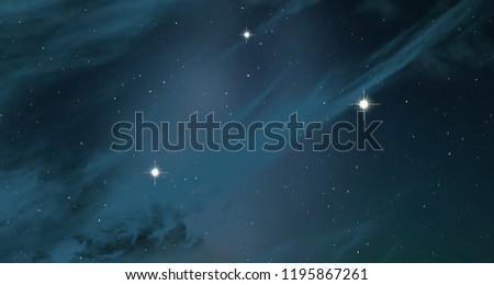 2d illustration. Deep space stellar background. Black universe. Cold nebula. #1195867261