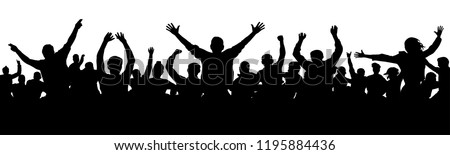 Cheerful people having fun celebrating. Crowd of fun people on party, holiday. Applause people hands up. Silhouette Vector Illustration Royalty-Free Stock Photo #1195884436