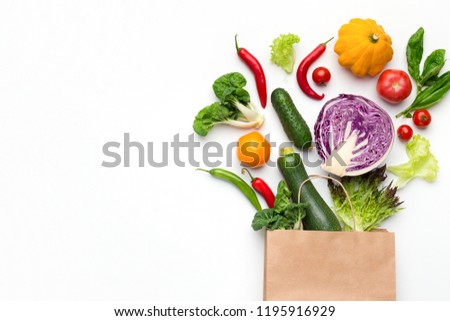 Green shopping. Eco friendly shopping bag with fresh organic vegetables, top view, copy space #1195916929