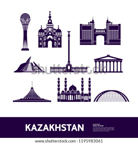 Kazakhstan Travel Destination vector. #1195983061