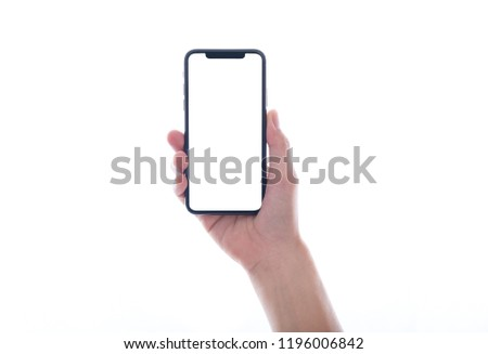 close up hand hold phone isolated on white, mock-up smartphone white color blank screen #1196006842