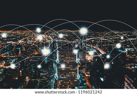 Network and connection technology concept with Downtown Los Angeles at night #1196021242