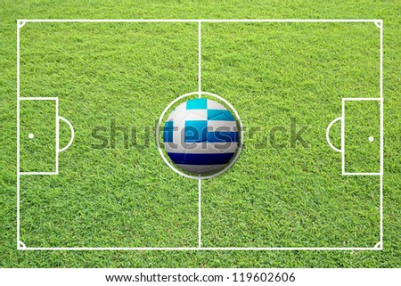 Illustration of soccer in the center of field. #119602606