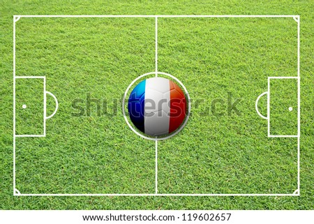 Illustration of soccer in the center of field. #119602657