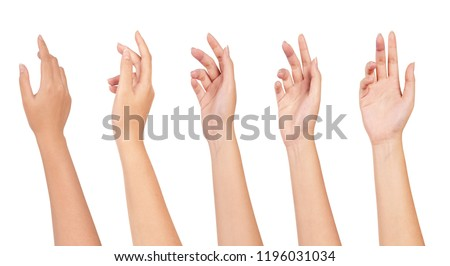 Set of woman hands isolated on white background. Royalty-Free Stock Photo #1196031034