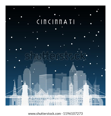 Winter night in Cincinnati. Night city in flat style for banner, poster, illustration, background.