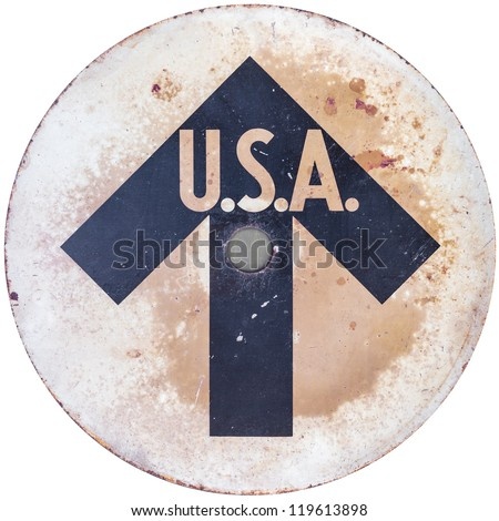 Vintage USA direction sign isolated on a white background