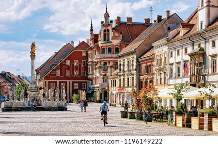 Slovenian city of Maribor Town Hall and Plague Column on the central square of the city. Lower Styria region, in Slovenia #1196149222