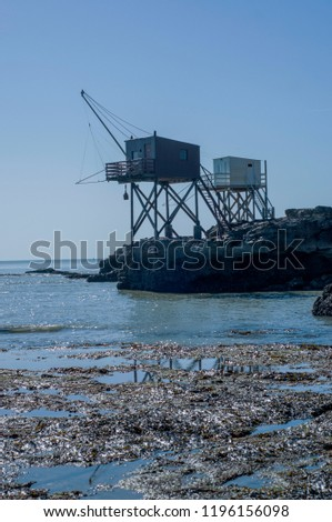 Traditional French fishing huts at Pont du Diable in Saint-Palais-sur-Mer. #1196156098