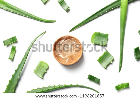 Flat lay composition with aloe vera on white background #1196201857