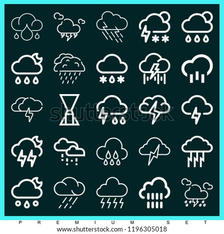 Set of 25 storm outline icons such as rainy, storm, rain, hail #1196305018