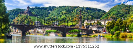Landmarks of Germany -  medieval Cochem town, Rhine river cruises Royalty-Free Stock Photo #1196311252