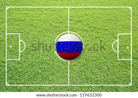 Illustration of soccer in the center of field. #119632300