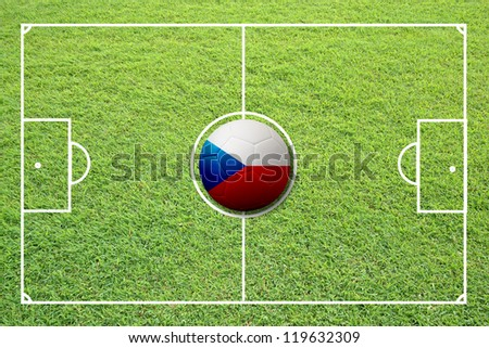 Illustration of soccer in the center of field. #119632309