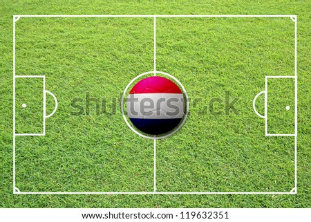 Illustration of soccer in the center of field. #119632351