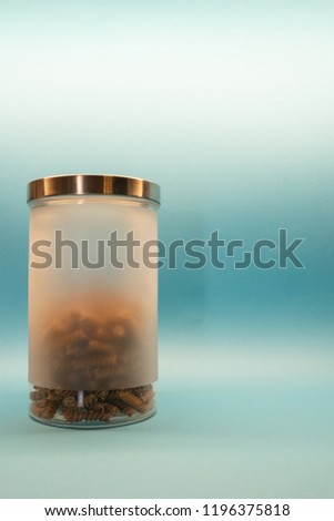 Raw pasta in box on background with copy space #1196375818