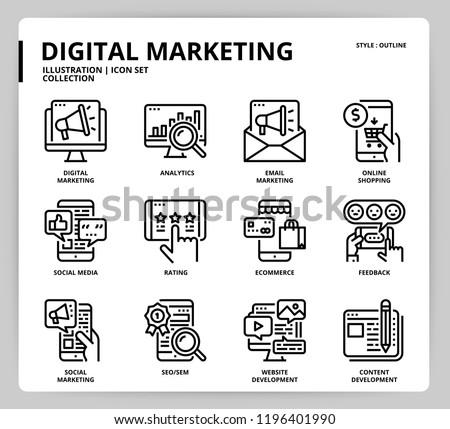 Digital marketing icon set Royalty-Free Stock Photo #1196401990