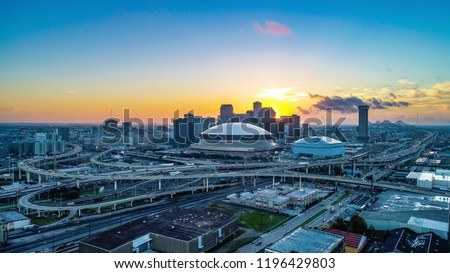 Drone Aerial View of New Orleans, Louisiana, USA Skyline at Sunrise