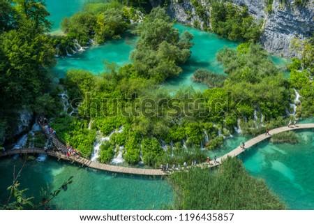 Beautiful view in Plitvice Lakes National Park. Croatia #1196435857