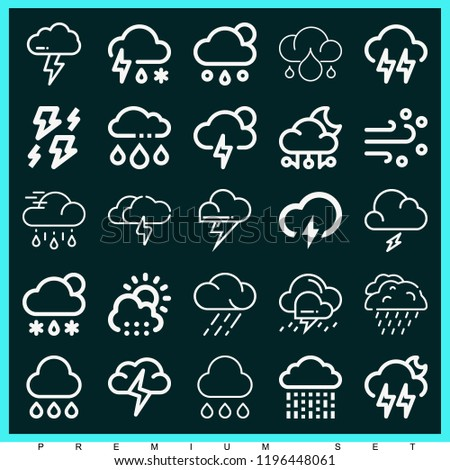Set of 25 storm outline icons such as rain, storm, rainy, hail #1196448061