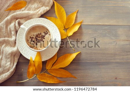 Cup of coffee with milk in sunny autumn day. Warm wool clothes and yellow leaves beside the cup. Flat lay. Copy space #1196472784