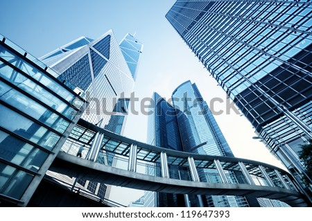 Toned image of modern office buildings in central Hong Kong. Royalty-Free Stock Photo #119647393