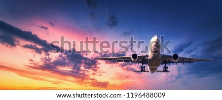 Landing airplane against colorful sky at sunset. Landscape with aircraft is flying in the blue sky with orange and pink clouds. Travel background with passenger plane. Commercial airplane. Private jet Royalty-Free Stock Photo #1196488009