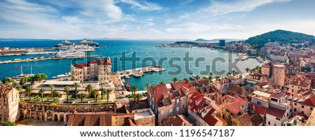 Panoramic summer cityscape of old medieval city - Split, Croatia, Europe. Sunny morning seascape of Adriatic sea. Beautiful world of Mediterranean countries. Traveling concept background. #1196547187
