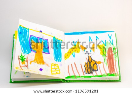 a book with children's drawings, the cat looks out the window, on a white background #1196591281
