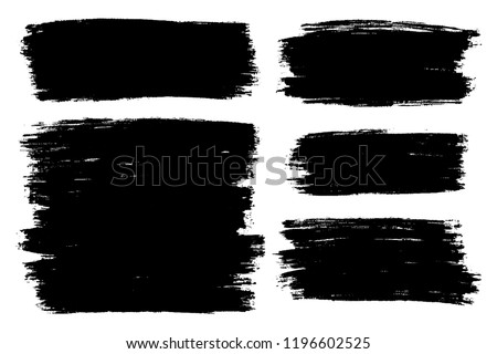 Vector set of hand drawn brush strokes, stains for backdrops. Monochrome design elements set. One color monochrome artistic hand drawn backgrounds. #1196602525