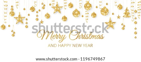 Christmas golden decoration on white background. Merry Christmas and Happy New Year text. Hanging glitter balls, trees, stars. Winter season sparkling ornaments on a string. For party posters, banners Royalty-Free Stock Photo #1196749867