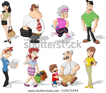 Group of cute happy cartoon people
