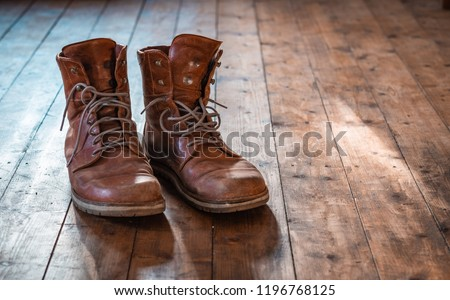 Travel boots, vintage boots, boots, shabby shoes, old shoes, trekking boots #1196768125