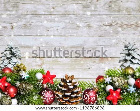 Composition of fir branches, fir cones and Christmas decor on a white wooden background. Place for text. #1196786896