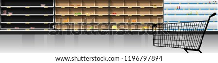 Interior scene of modern supermarket with empty shelves and shopping cart , vector , illustration #1196797894