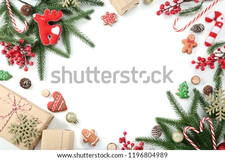 Christmas decorations with gift boxes on white background #1196804989