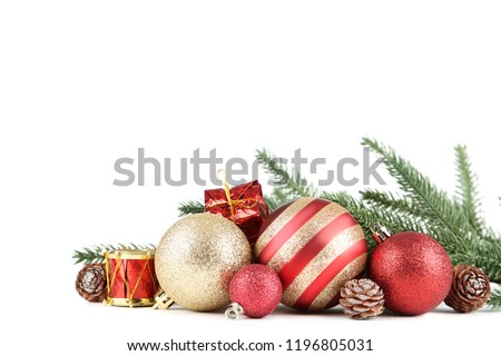 Colorful christmas baubles with fir tree branches on white background #1196805031