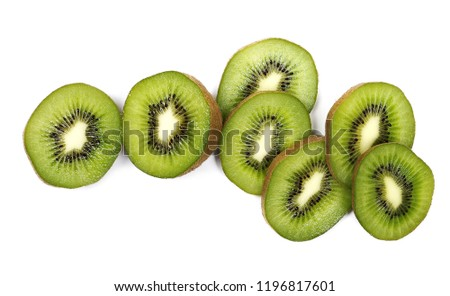 Kiwi fruit slices isolated on white background, top view #1196817601