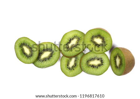 Kiwi fruit slices isolated on white background, top view #1196817610