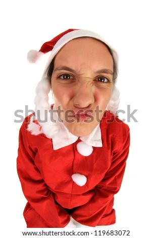 Photo of a funny Santa girl, studio photo
