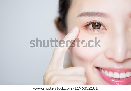 close up of beauty woman pointing her eye #1196832181