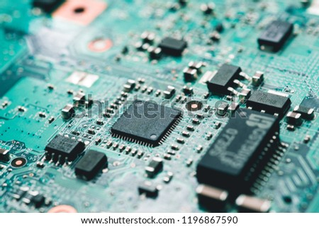 Computer circuit board. High technology. Electric circuit. Motherboard. Laptop motherboard #1196867590