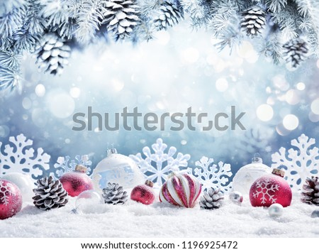 Christmas Card - Baubles On- Snow With Snowy Fir Branches  #1196925472