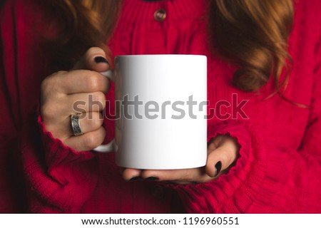 white mug mockup , red jacket #1196960551