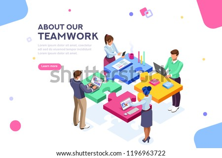 Startup employees. Goal thinking, infographic of puzzle. Cooperation construction by agency group to create a team. Concept for webdesign. White isolated concept with characters flat isometric Vector Royalty-Free Stock Photo #1196963722