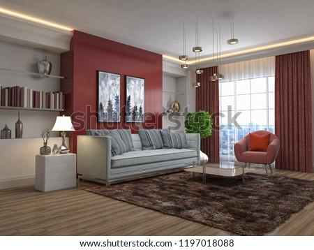 Interior of the living room. 3D illustration #1197018088